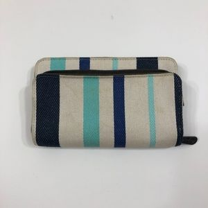 Thirty One Perfect Cents Wallet- Blue Twill Stripe